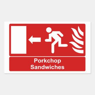 Porkchop smörgåsar rektangulärt klistermärke