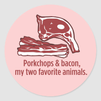 Porkchops & bacon, min två favorit- djur runt klistermärke