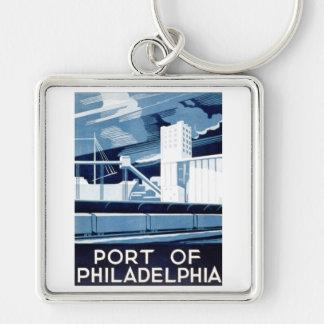Port av Philadelphia Pennsylvania WPA 1936 Fyrkantig Silverfärgad Nyckelring