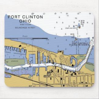 Port Clinton, OH nautiska Erie kartlägger Mousepad Musmatta