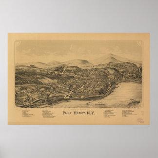 Port Henry New York 1889 antika panorama- karta Poster