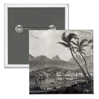 "Port Louis ""beskådar i Mauritius"" by Standard Kanpp Fyrkantig 5.1 Cm"