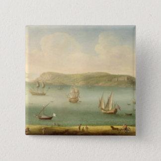 Port Mahon, Minorca, 1730's (olja på kanfas) Standard Kanpp Fyrkantig 5.1 Cm