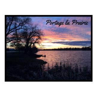 Portage la Praririe - sjö på solnedgång 1 Vykort