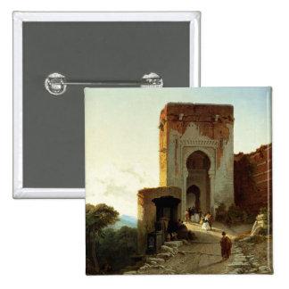 Porte de Rättvisa, Alhambra, Granada (olja på kanf Standard Kanpp Fyrkantig 5.1 Cm