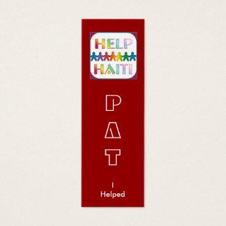 Portionhänder för den Haiti boken markerar Litet Visitkort
