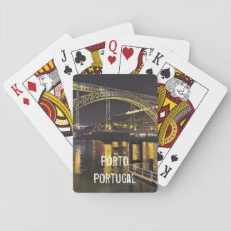 Porto - Portugal. Nattplats nära den Douro floden Spelkort