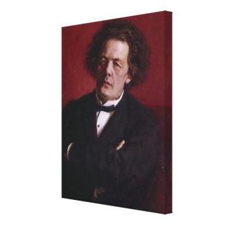 Porträtt av Anton Grigoryevich Rubinstein, 1881 Canvastryck
