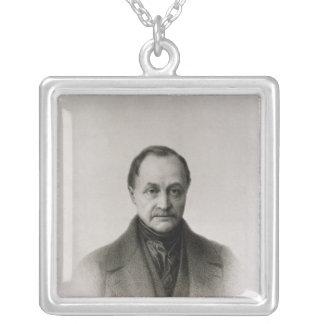 Porträtt av Auguste Comte, fransk filosof Silverpläterat Halsband