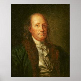 Porträtt av Benjamin Franklin Poster