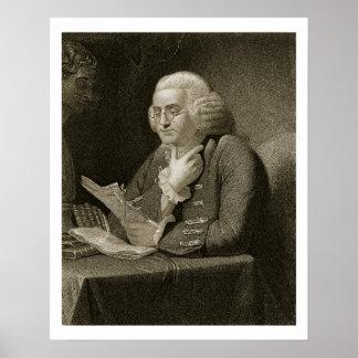 Porträtt av Benjamin Franklin som inristas av Thom Poster