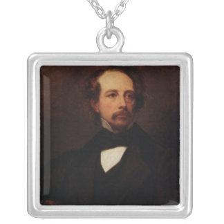 Porträtt av Charles Dickens 1855 Silverpläterat Halsband