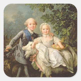 Porträtt av Charles Philippe av frankriken Fyrkantigt Klistermärke