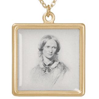 Porträtt av Charlotte Bronte som inristas av fotgä Guldpläterat Halsband
