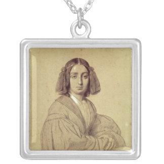 Porträtt av den George sanden 1837 Silverpläterat Halsband