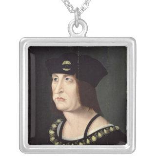 Porträtt av den Louis XII kungen av frankriken Silverpläterat Halsband