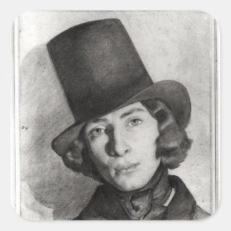 Porträtt av den Maurice sanden Fyrkantigt Klistermärke