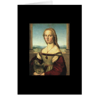 Porträtt av den unga kvinnan med Unicorn Hälsningskort