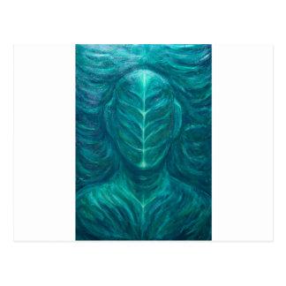 Porträtt av den verkliga gröna manen (surrealism) vykort