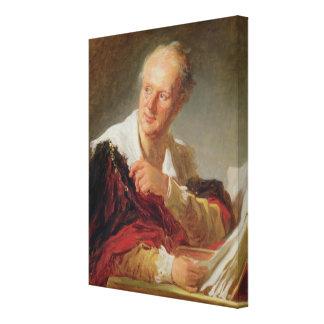 Porträtt av Denis Diderot c.1769 Canvastryck