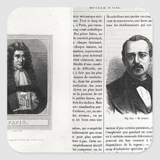 Porträtt av Denis Papin och Etienne Lenoir Fyrkantigt Klistermärke