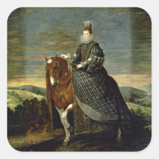 Porträtt av drottningen Margaret av Österrike Fyrkantigt Klistermärke