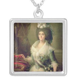 Porträtt av drottningen Maria Luisa Silverpläterat Halsband