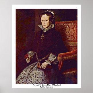 Porträtt av drottningen Mary av England vid Mor Poster