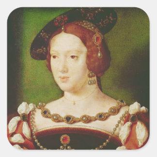 Porträtt av Eleanor av Hapsbourg Fyrkantigt Klistermärke