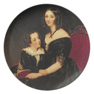 Porträtt av Eliza Boardman och henne son, Robert,  Tallrik