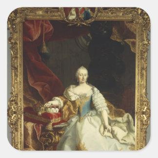 Porträtt av empressen Maria Theresa Fyrkantigt Klistermärke