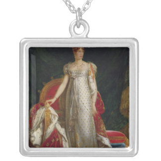 Porträtt av empressen Marie Louise av frankriken Silverpläterat Halsband
