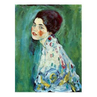 Porträtt av en dam av Gustav Klimt Vykort