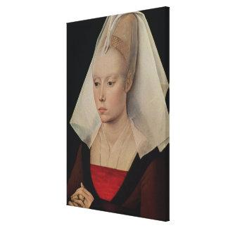 Porträtt av en dam, c.1450-60 canvastryck