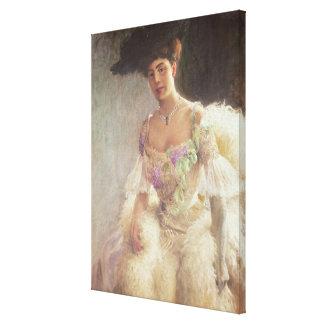 Porträtt av en dam i aftonklänningen, 1903 canvastryck