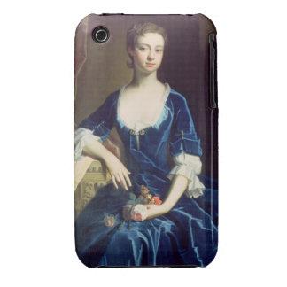 Porträtt av en dam i en blåttsammetklänning olja iPhone 3 Case-Mate fodraler
