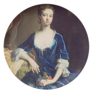 Porträtt av en dam i en blåttsammetklänning olja tallrik