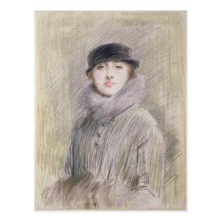 Porträtt av en dam med en päls förser med krage vykort