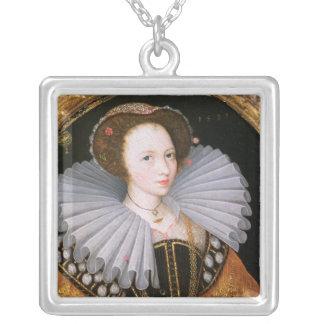 Porträtt av en dam med en stor Ruff Silverpläterat Halsband