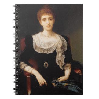 Porträtt av en dam (olja på kanfas) 2 anteckningsbok med spiral