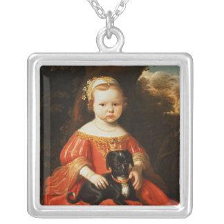 Porträtt av en flicka med en hund silverpläterat halsband