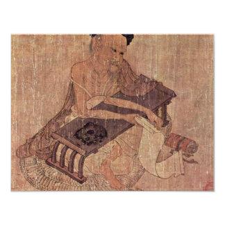Porträtt av en forskare Fu Sheng av Wang Wei 10,8 X 14 Cm Inbjudningskort