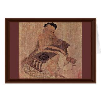 Porträtt av en forskare Fu Sheng av Wang Wei Hälsningskort