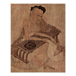 Porträtt av en forskare Fu Sheng av Wang Wei Poster