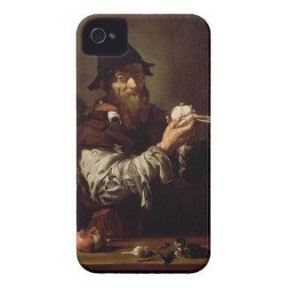 Porträtt av en gamal man med en lök (olja på canva iPhone 4 cases