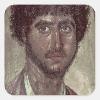 Porträtt av en grek, från Fayum, Romano-Egyptier, Fyrkantigt Klistermärke
