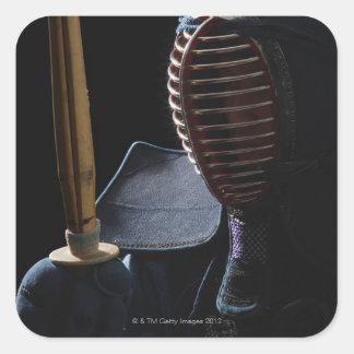 Porträtt av en Kendo fäktare 6 Fyrkantigt Klistermärke