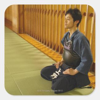 Porträtt av en Kendo fäktare Fyrkantigt Klistermärke