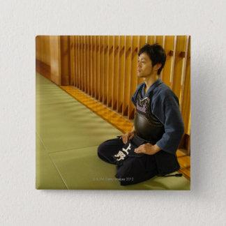 Porträtt av en Kendo fäktare Standard Kanpp Fyrkantig 5.1 Cm