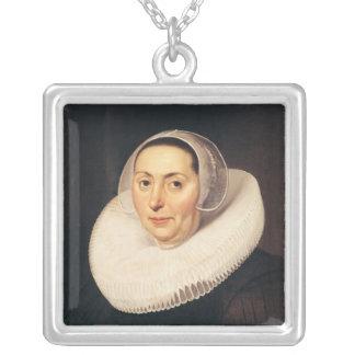 Porträtt av en kvinna, 1665 silverpläterat halsband